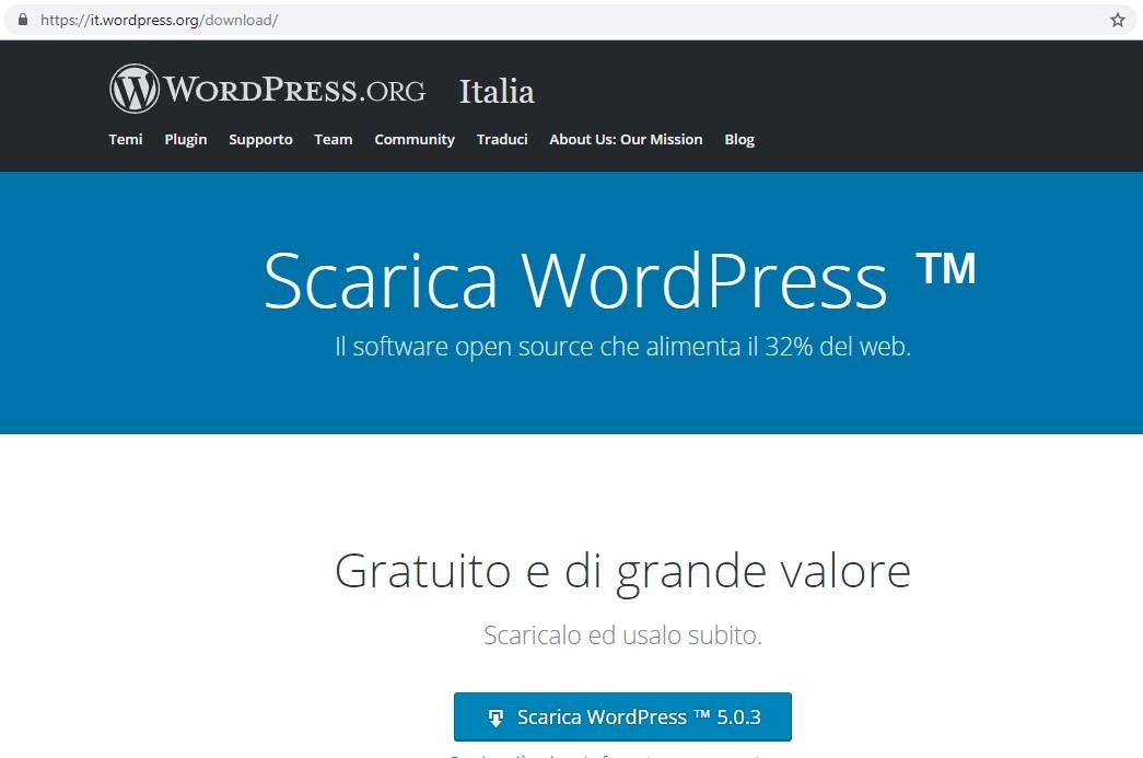 Scarica WordPress