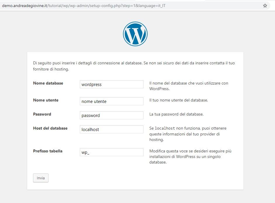Installazione WordPress