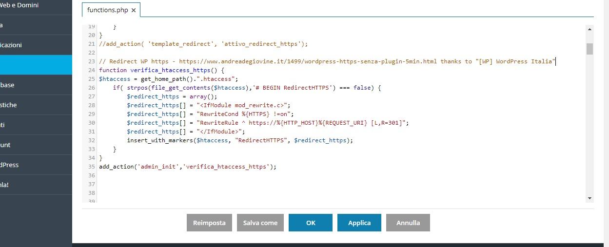 Funzione HTTPS Wordpress