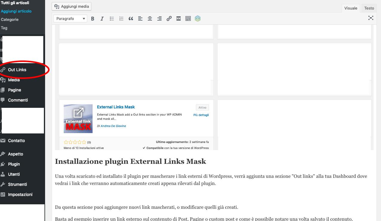 Sezione Outlinks per nascondere link esterni WordPress
